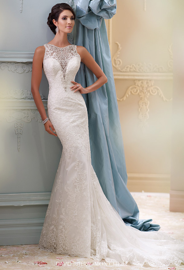 david tutera mon cheri spring 2015 style 115248 athena sleeveless corded lace tulle over satin fit flare wedding dress