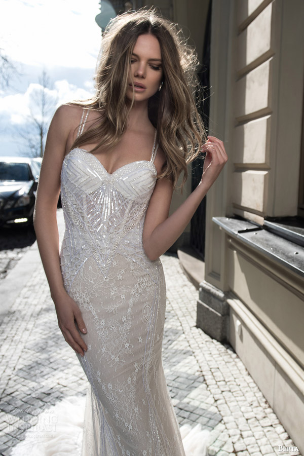 berta fall 2015 bridal sleeveless sheath wedding dress sequinned bodice close up