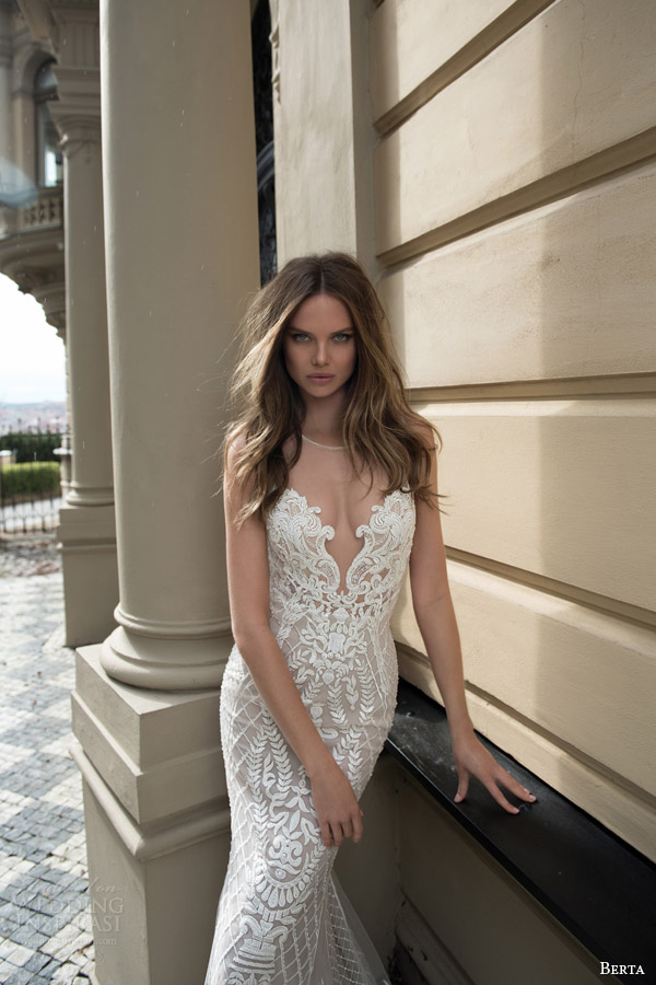 berta bridal fall 2015 beaded lace sheath wedding dress illusion neckline