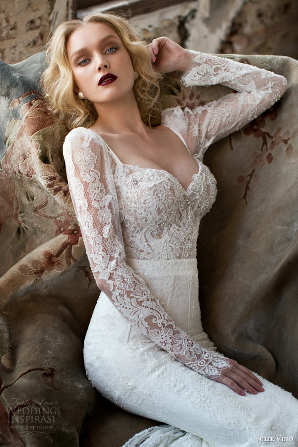 julie vino spring 2015 mystic dusk bridal collection donna illusion long sleeve wedding dress lace bodice