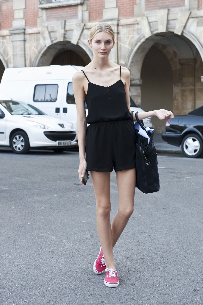 minimalist sporty sneakers and romper