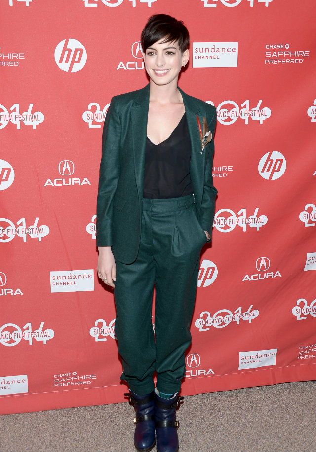 androgynous suit anne hathaway