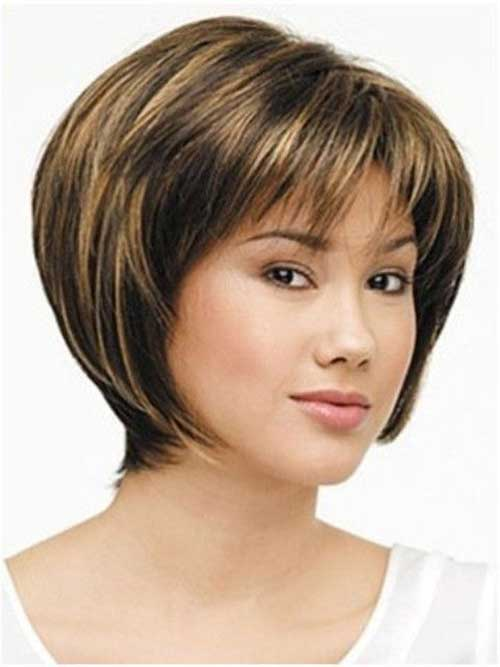 Straight Short Stacked Haircut with Bangs