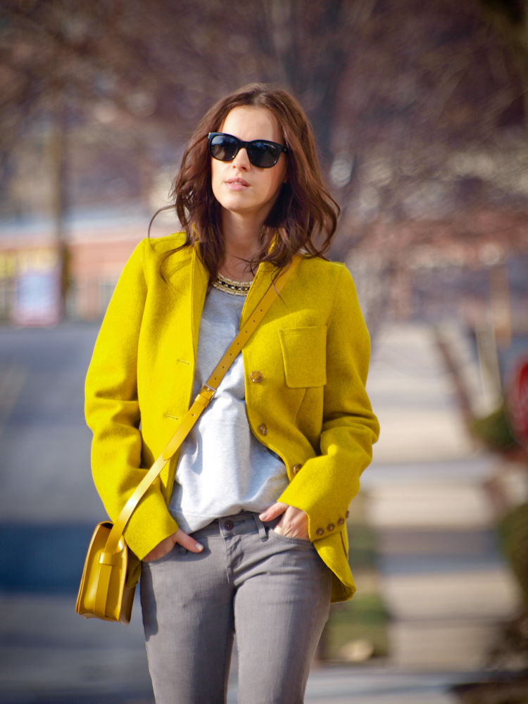 yellow blazer and gray pants