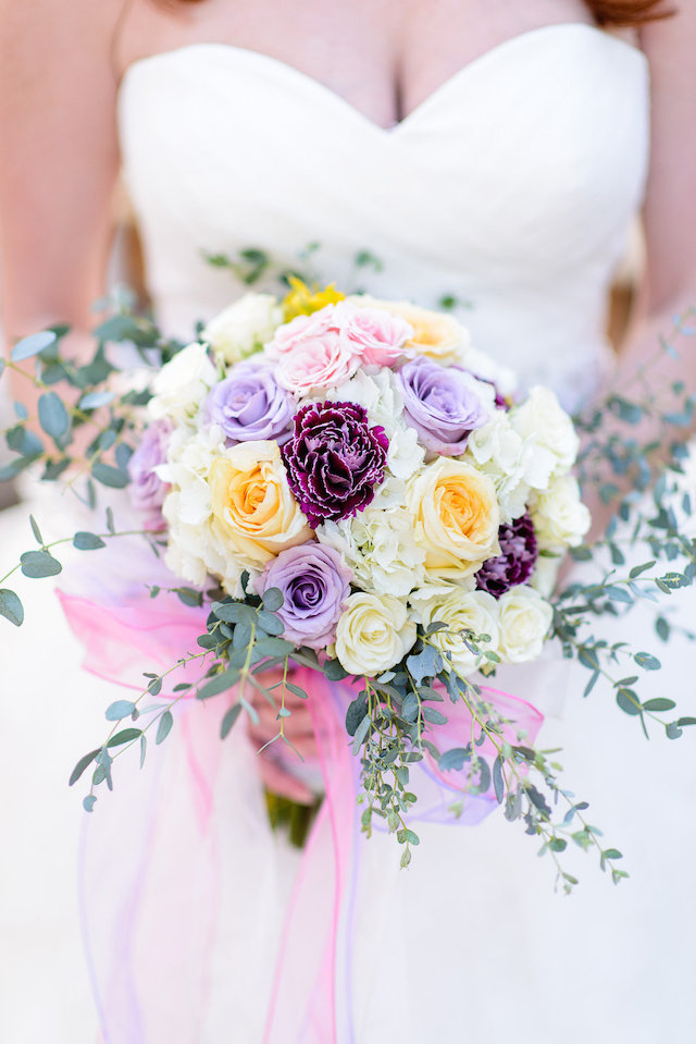Purple, pink, and yellow bridal bouquet | The Veil Wedding Photography | see more on: http://burnettsboards.com/2015/05/whimsical-pastel-ombre-wedding-ideas/