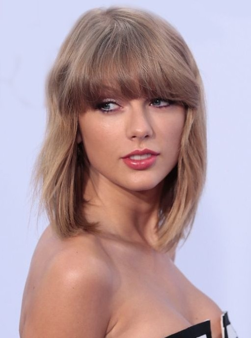Taylor Swift Medium Haircut with Bangs Getty Images
