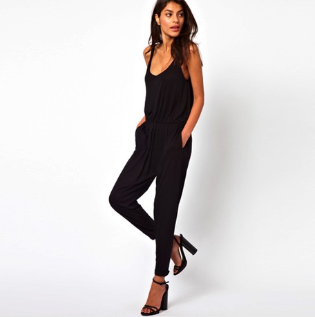 Casual loose suspenders solid coveralls jumpsuit