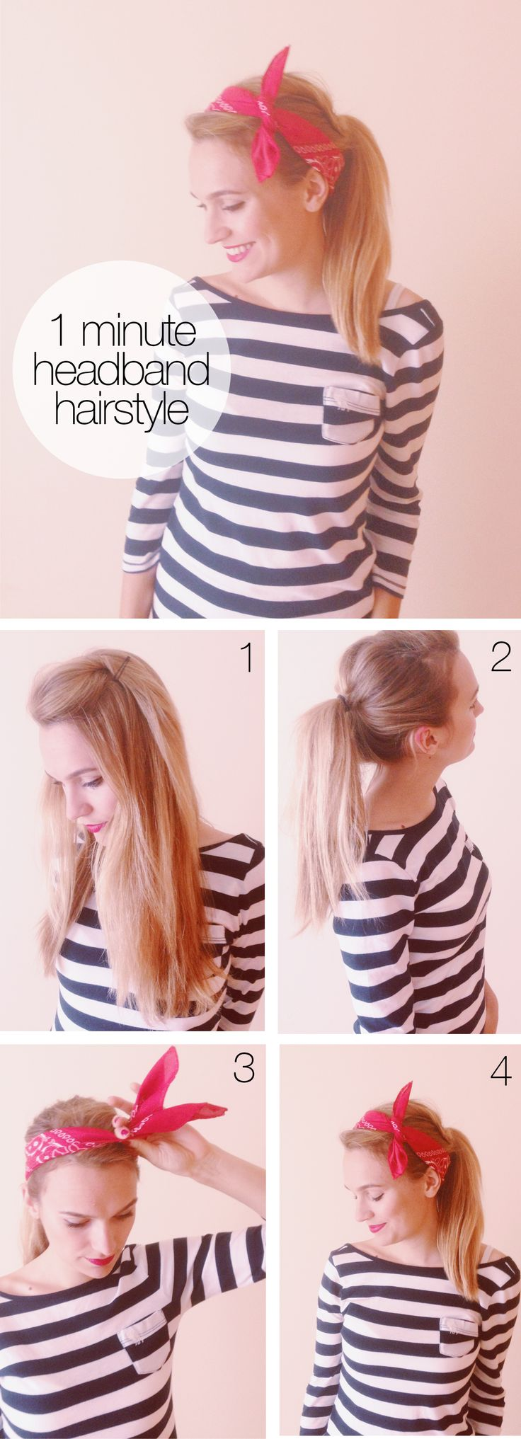 Simple Ponytail Hairstyle with Scarlf Headband Tutorial