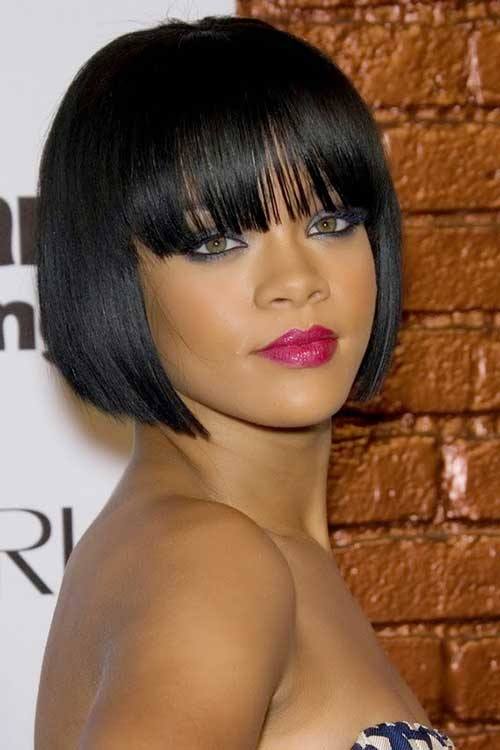 Rihanna Straight Short Hairstyles