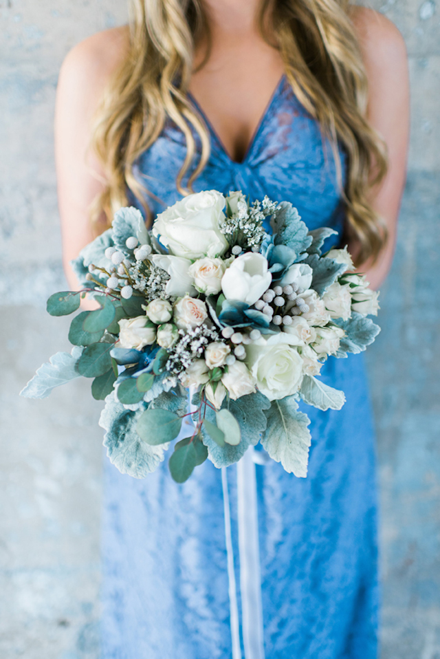 Dusty blue and white bridesmaid bouquet | Elisheva Golani Photography and Belle Soul Weddings | see more on: http://burnettsboards.com/2015/05/romantic-dusty-blue-wedding/