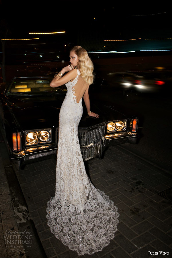 julie vino bridal spring 2015 empire brandy sheath wedding dress shown with cape back view