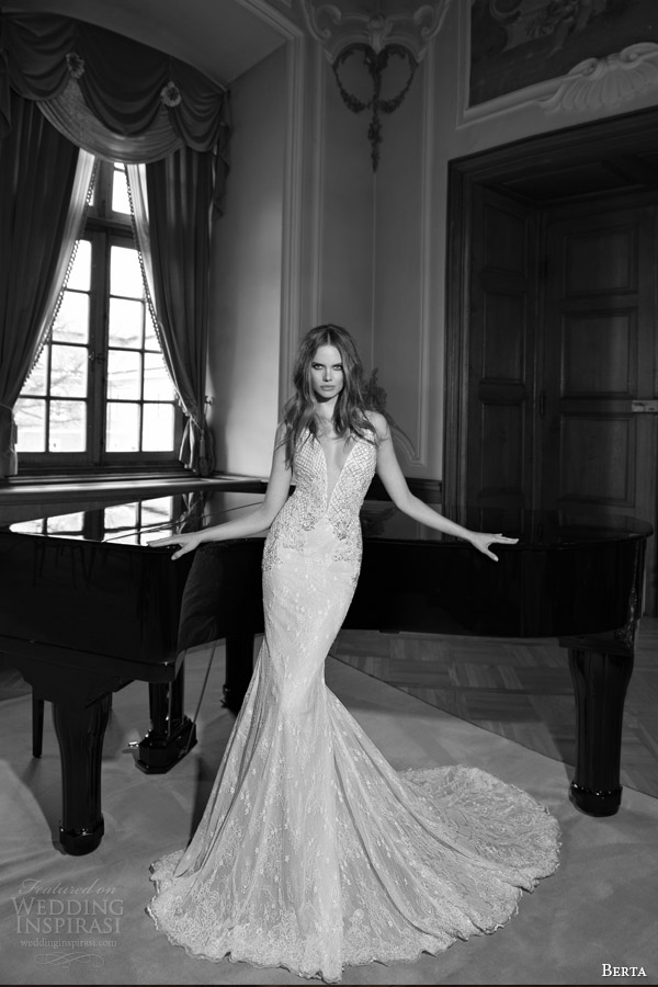 berta fall 2015 bridal sleeveless sheath wedding dress sexy deep v neckline
