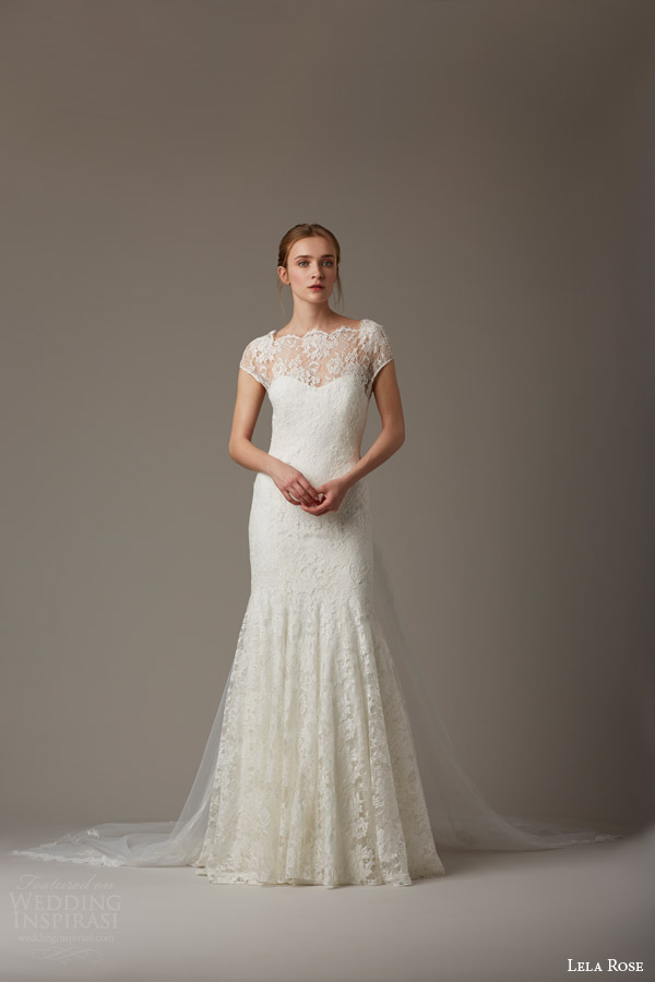 lela rose bridal spring 2016 the woodlands cap sleeve lace wedding dress shown with train