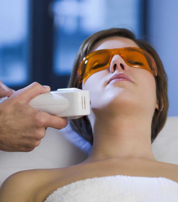 Googles protect your eyes during an IPL treatment.