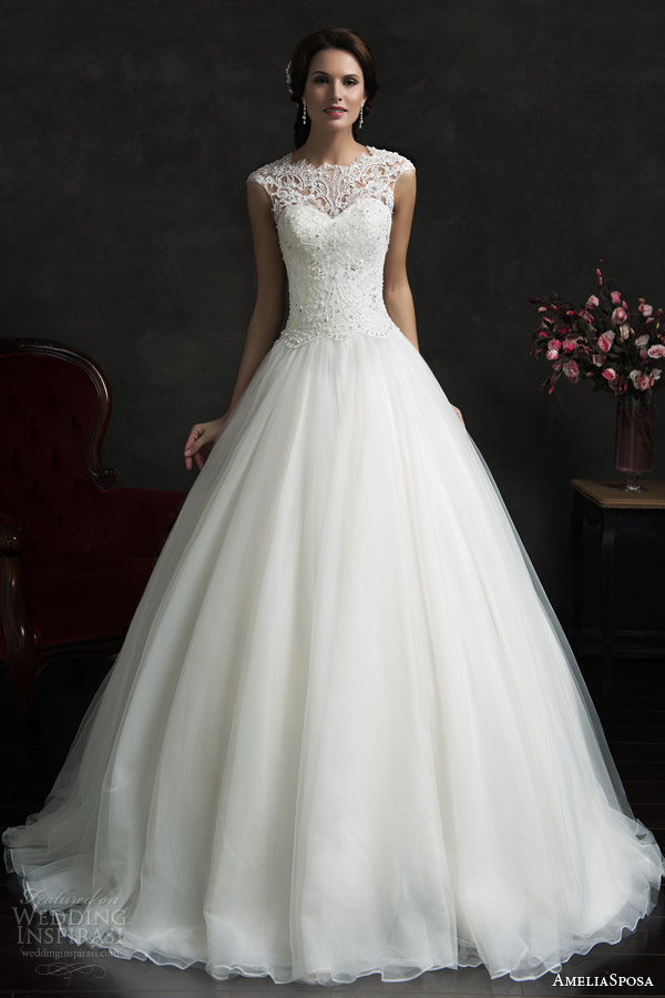 amelia sposa 2015 bridal monica lace bodice cap sleeve ball gown wedding dress