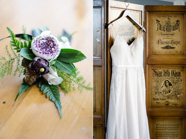 purple boutonniere - photo by Anne Victoria Photography http://ruffledblog.com/modern-meets-1920s-wedding-editorial