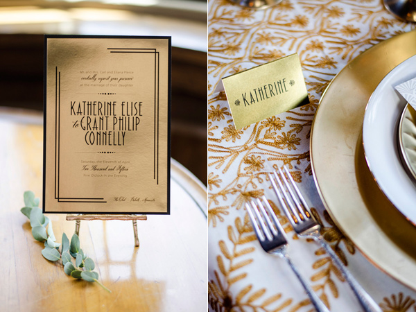 gold place setting - photo by Anne Victoria Photography http://ruffledblog.com/modern-meets-1920s-wedding-editorial