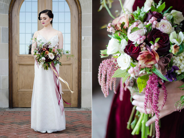 burgundy bouquet - photo by Anne Victoria Photography http://ruffledblog.com/modern-meets-1920s-wedding-editorial