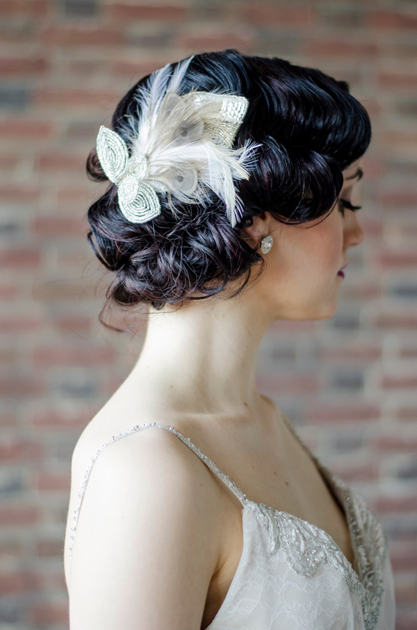 vintage wedding hair - photo by Anne Victoria Photography http://ruffledblog.com/modern-meets-1920s-wedding-editorial