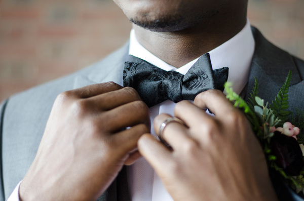 groom bow ties - photo by Anne Victoria Photography http://ruffledblog.com/modern-meets-1920s-wedding-editorial