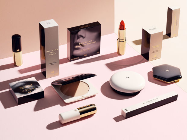 Chic packaging from H&;M's forthcoming cosmetics range.