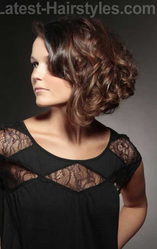 Brunette Wavy Curly Bob Hairstyles 2014