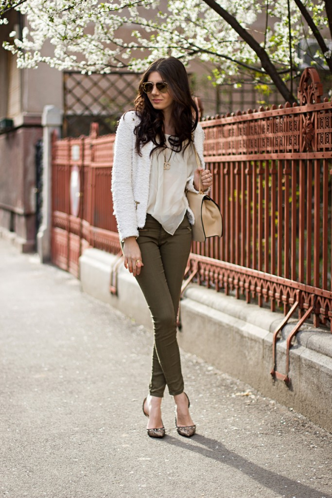silk blouse and green pants