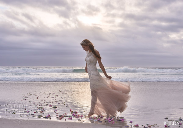 bhldn bridal summer 2015 cate rose ombre tulle wedding dress sequins silver cut beads needle thread