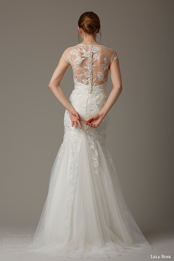 lela rose bridal spring 2016 the wishing well illusion cap sleeve wedding dress godet mermaid skirt back view