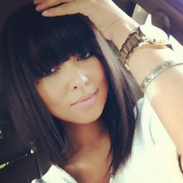 Long Straight Bob Haircut with Blunt Bangs