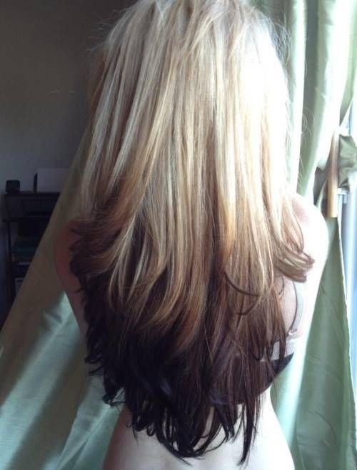 Blonde to Black Reverse Ombre Hairstyle