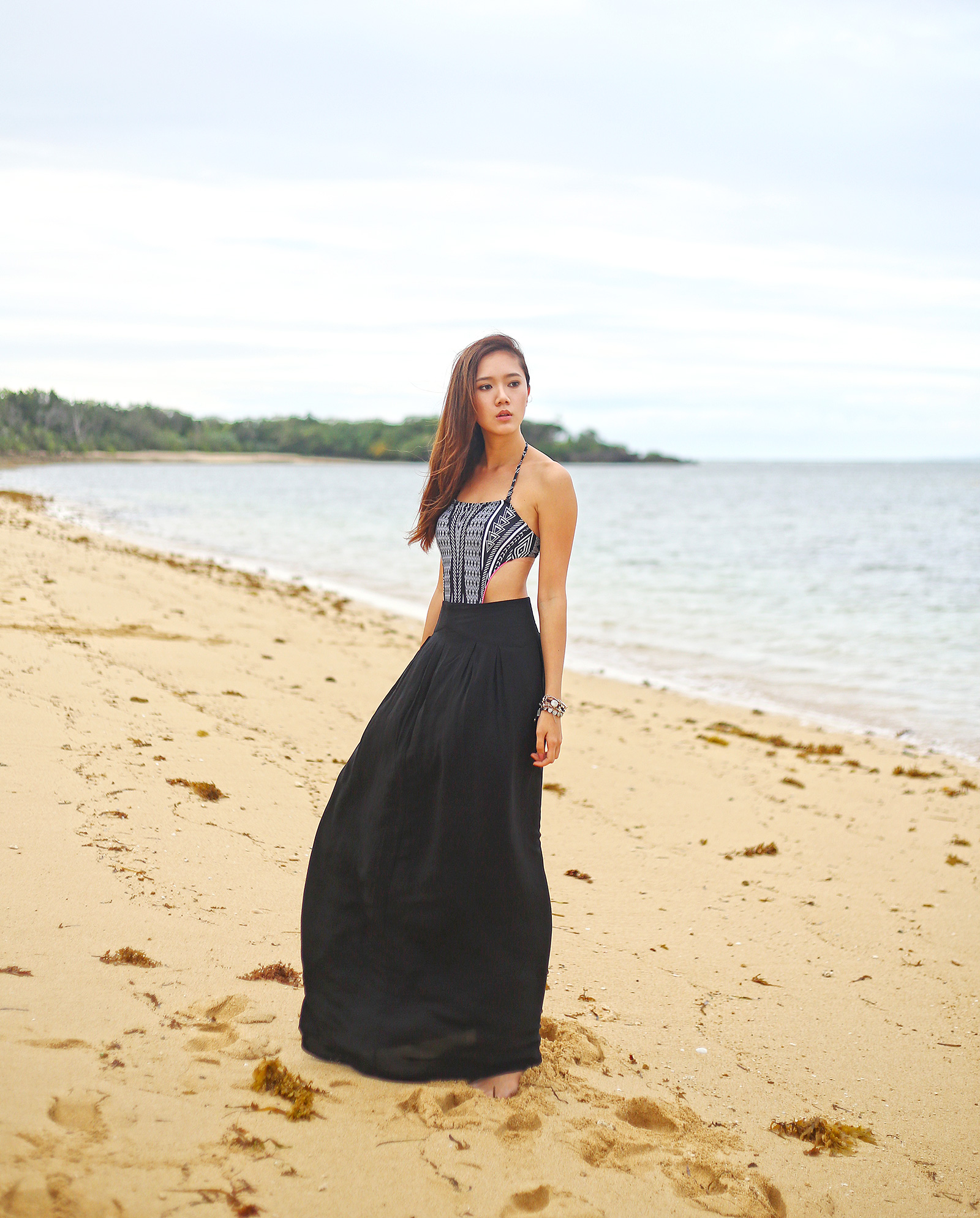 one piece swimsuit and maxi skirt