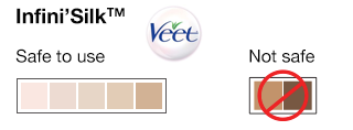 Veet Infini'Silk Hair Removal System Skin Color Chart