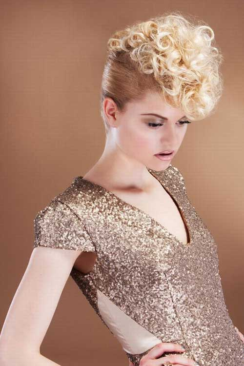 Short Blonde Curly Hair Updo