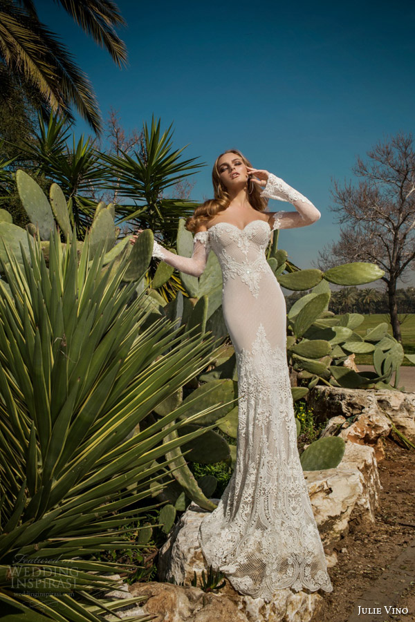 julie vino spring 2015 desert rose bridal collection martina wedding dress off shoulder illusion long sleeves full view