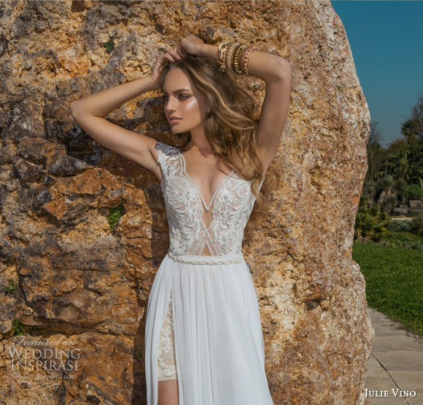 julie vino spring 2015 desert rose bridal collection dakota cap sleeve wedding dress bodice close up