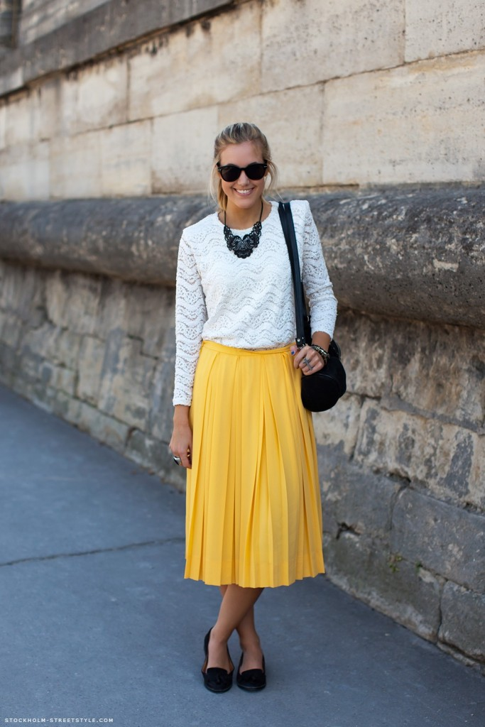 yellow skirt and lacy top