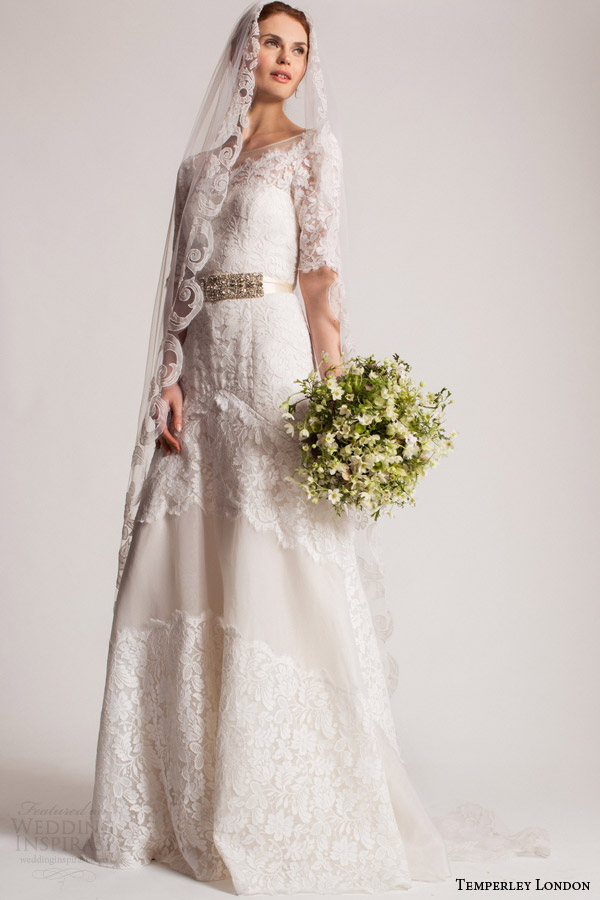 temperley london bridal summer 2016 isabella lace wedding dress half sleeves