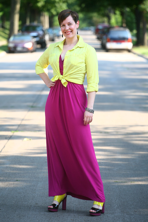 yellow and purple outfit