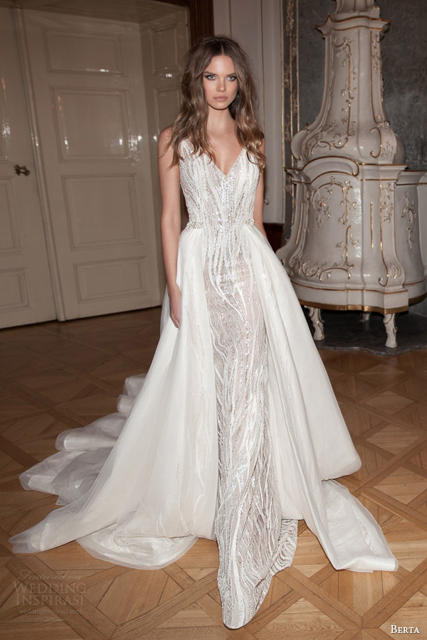 berta wedding dresses fall 2015 sleeveless sheath gown overskirt train