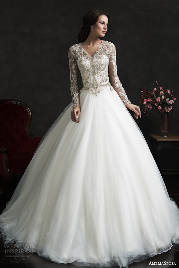 amelia sposa 2015 bridal leonor ball gown weddding dress long sleeve embellished top