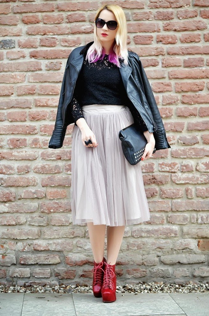tulle skirt and leather