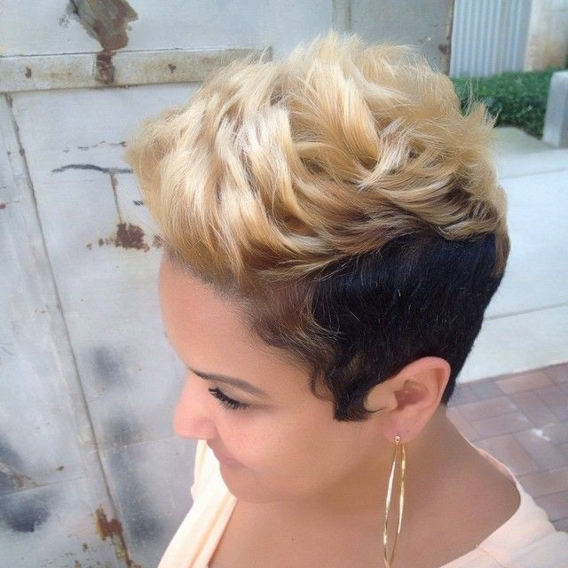 Black Blonde Fauxhawk Hairstyle for Short Hair