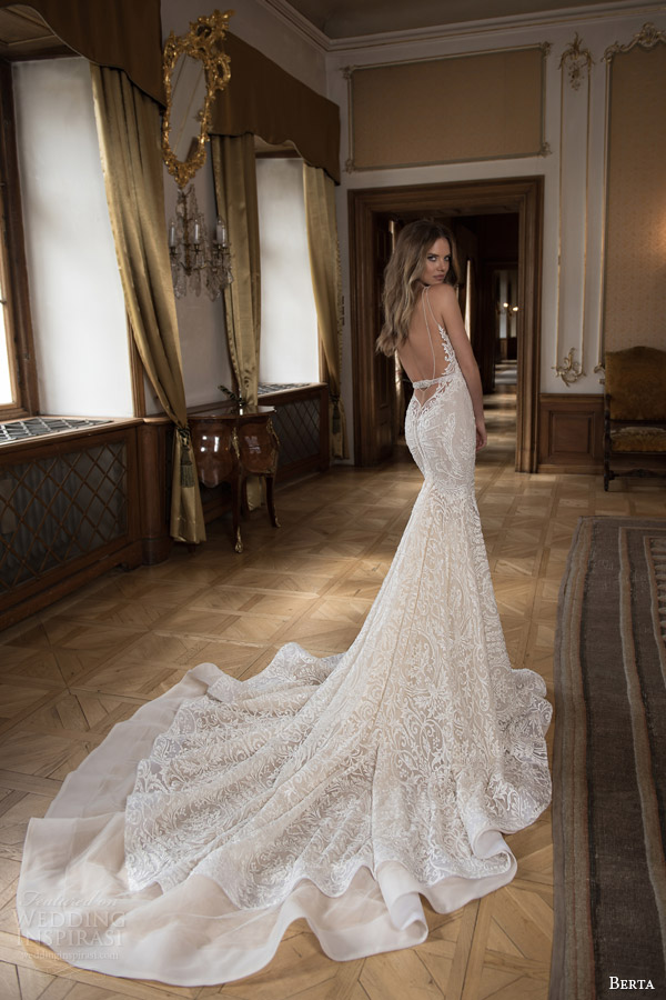 berta fall 2015 mermaid wedding dress sweetheart neckline illusion double row bead straps illusion back view train