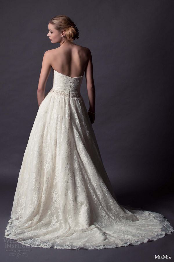 miamia bridal 2015 cadenza strapless sweetheart a line wedding dress lace overlay skirt back view