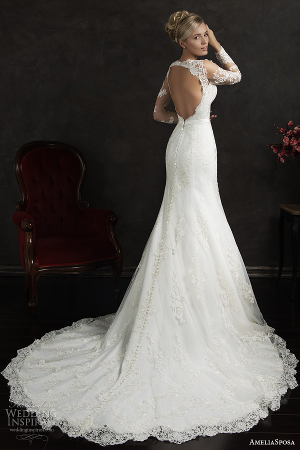 amelia sposa 2015 bridal essenia illusion long sleeve lace wedding dress trumpet silhouette keyhole back train