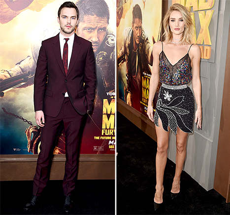 Nicholas Hoult worked a burgundy suit while Rosie Huntington-Whiteley modeled an embellished miniskirt at the L.A. premiere of