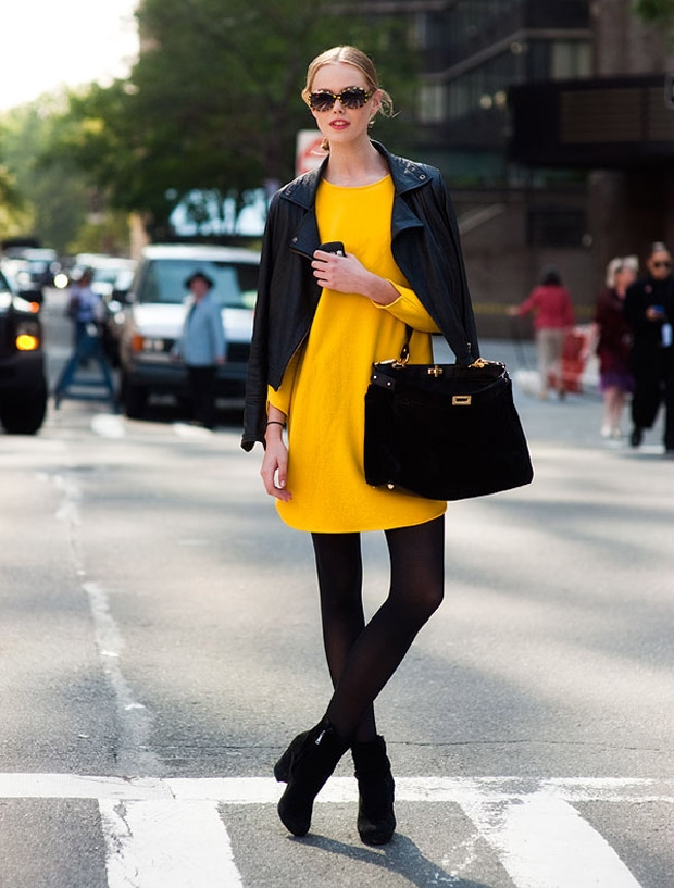 yellow dress and leather jacket