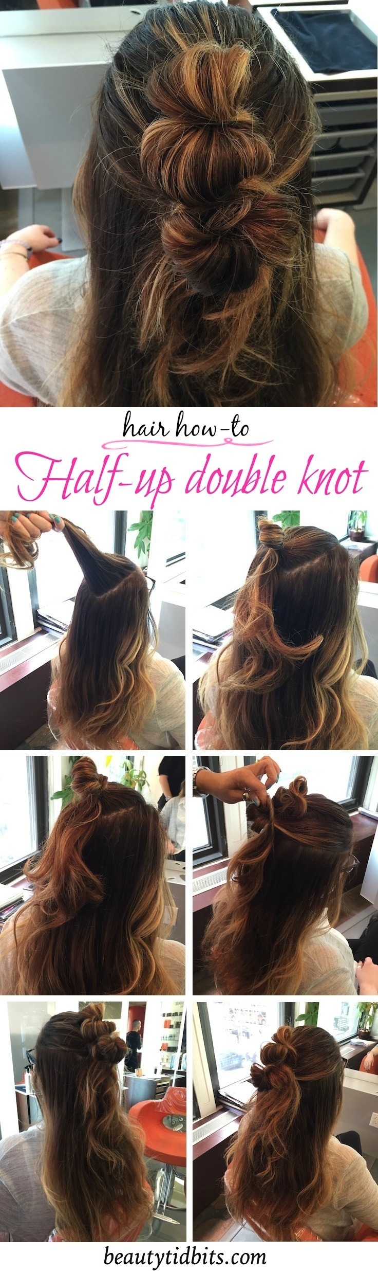 Ideal for natural texture or 2nd (even 3rd!) day hair, this Half-up double knot style works with any length and texture. A lifesaver for frizzy hair days and so easy to create !