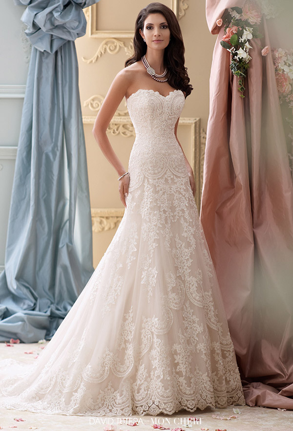 david tutera mon cheri spring 2015 style 115237 justice strapless a line wedding dress corded lace applique sweetheart neckline ivory gardenia color